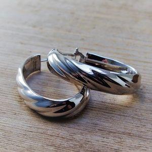 VTG Milor Italy Bronze Twisted Large Hoop Earrings